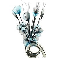 Flourish–723446–qh1Jarrón pequeño con turquesa/negro flores de nailon artificiales en jarrón, diseño Home Accessorie, 32cm, color azul