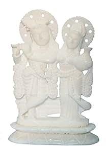 """7"""" Handcrafted Indian Marble Radha Krishna Idol, Statue, Murti"""