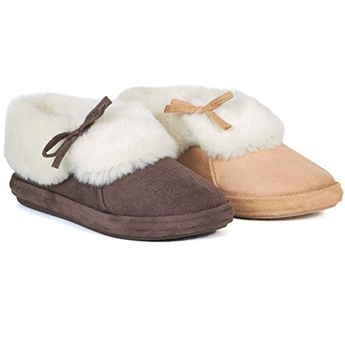 LADIES SLIPPER BOOTS WOMENS SLIPPERS WINTER WARM THERMAL ANKLE FUR BOOTIE SHOES...