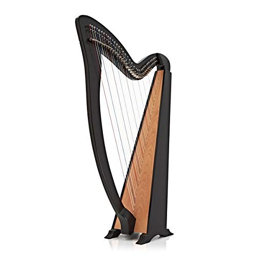 Deluxe 36 String Harp with Levers by Gear4music Black
