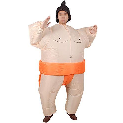 (Hehh Tuoba Fish Aufblasbare Sumo-Kleidung, lustige, fette Kostümrequisiten, Performance-Requisiten, geeignet für Erwachsene und Kinder,Orange)