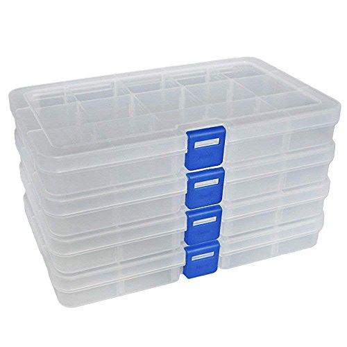 Incluye: Transparente x 4. Tamaño externo: 17,2 x 10,0 x 2,2 cm, Tamaño del Compartimiento (Adjustable), Mínimo: 3,2 x 3,0 x 2,0 cm; Máximo: 16,7 x 3,0 x 2,0 cm. Por favor, preste atención al tamaño del producto antes del pago.Material: Plástico P...