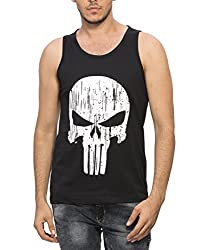 Alan Jones Mens Cotton Black Printed Vest (VEST-SKULL-L_Large_Black)