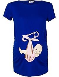 Happy Mama. Para Mujer Camiseta premamá T-Shirt estampado bebé en mochila. 513p