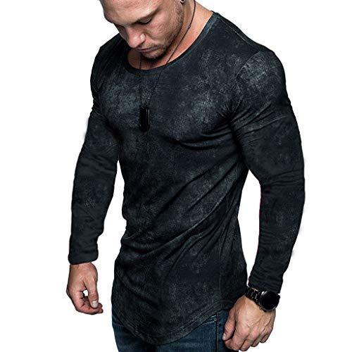 Ncenglings Herren T-Shirt Herbst Bekleidung Mode Tie-dye Blusen Freizeit Splicing Sweatshirt Schöne Rundhals Muskelshirt Gym Fitnesss Sport Blouse Pailletten Tops Slim Fit Hemden Elegant Bequem Shirt -
