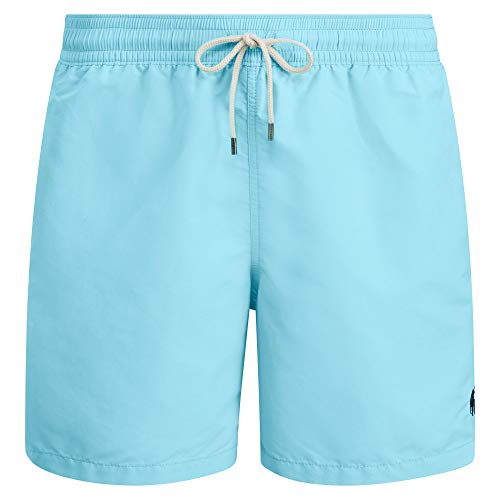 Polo Ralph Lauren Herren Badeshort, Traveler Swimshort, Unifarben mit Logo-Stick: Farbe: Hellblau | Größe: L (Gr. Large)
