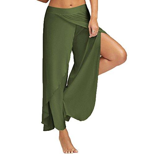 QINPIN Damen Yogahosen mit weitem Bein Army Green XL