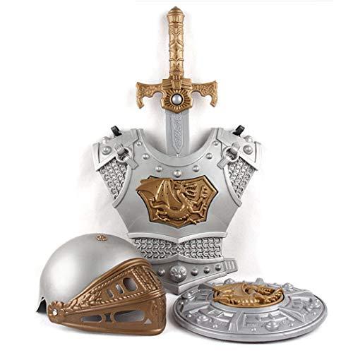 Lvbeis Armatura Cavaliere Medievale-Spada,Scudo,Corazza,Casco,Bambini Guerriero Cosplay,-Silver