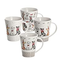 Set of 4 Dog Mugs Cups White Porcelain China for Tea Coffee, Dishwasher Microwave Safe Cute Assorted Dogs Themed Gift for Dog Lovers and Animal Owners