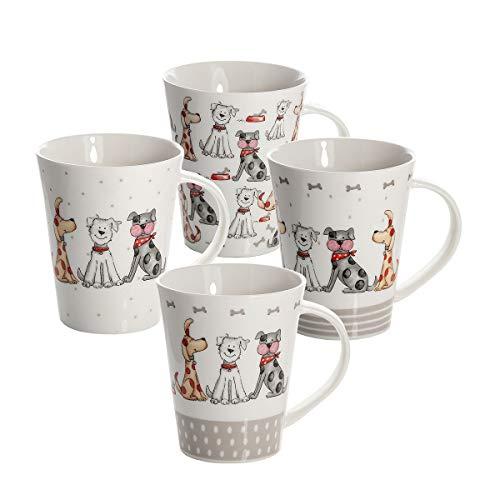 Conjunto 4 Tazas de Desayuno Originales de café té con decoración de Lindo Perros, Blanco para microondas, Regalo para los Amantes de los Animales de Perro Set Dog Design Mugs Cups Gift Animal Lovers