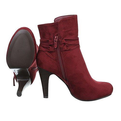 Ital-Design , Bottes à enfiler femme rouge bordeaux