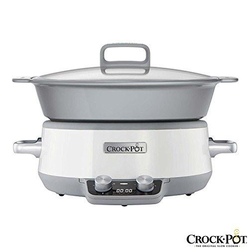 Crock-Pot Durable and Easy-to-Clean Scratch-Resistant 6L DuraCeramic Non-Stick Coating Sauté Slow Cooker with LED Countdown Display Digital Timer, White