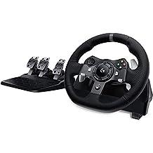 Logitech G920 Driving Force Racing Wheel en Pedalen, Real Force Feedback, RVS schoep shifters, Leren stuur Cover, Verstelbare pedalen, EU-Plug, Xbox One / PC / Mac - Black