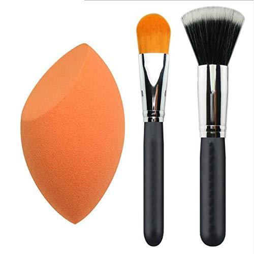 Qnlly Makeup Brush Set Face Kabuki 2 + 1 Stücke, Stiftung und Eyeshadow Makeup Brush, Beauty Foundation Blending Sponge -