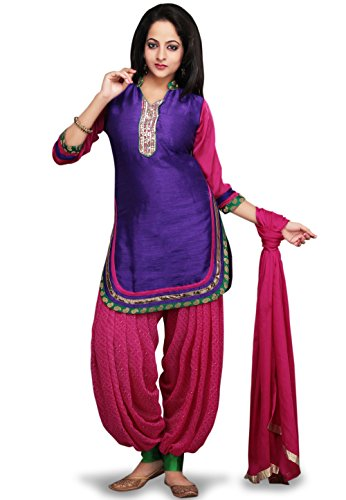 Utsav Fashion Embroidered Dupion Silk Punjabi Suit in Purple and Pink Colour
