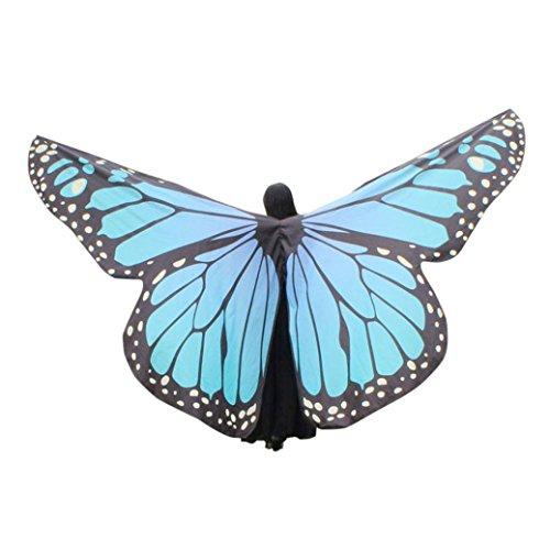 OVERDOSE Frauen 197 * 125CM Weiche Gewebe Schmetterlings Flügel Schal feenhafte Damen Nymphe Pixie Kostüm Zusatz Für Show (260 * 150CM, F-Sky Blue) - Sky Blue Chiffon