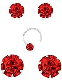 PeenZone 92.5 Silver Red Color Stud Earrings Set For Women & Girls