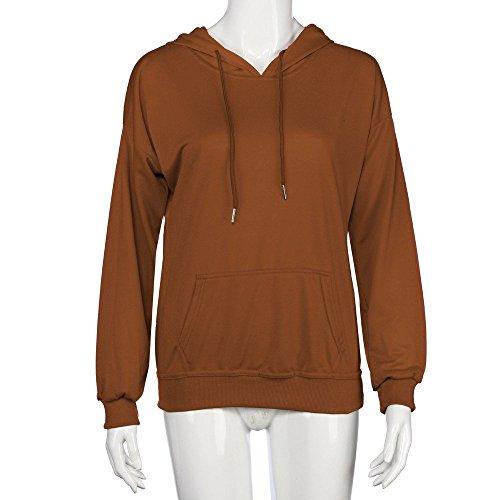 Landove Donna Felpa con Cappuccio e Tasca Pullover Tumblr Autunno Inverno Elegante Felpe Hip Hop Sweatshirt Oversize Casual Maglietta Tops Tinta Unita Marrone