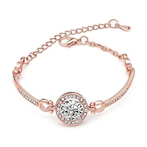 Lot de 1zircon Bracelet, réglable en alliage Simulation Diamant Bracelet pour filles femmes, Magnifique Noble Creative exquis Bijoux Noël Cadeau Saint Valentin pour Lady 21cm rose gold