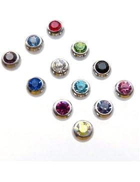 Piercing-Dreams Kristall Kugel Kristallkugel Ersatzkugel Edelstahl 1,2 x 3 mm Farbwahl