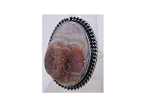 ar Agate Druzy cabochon Ring, Silver Plated Ring, Handmade Ring, Women Jewelry, (Size- 8.75 USA) BRS-3108 ()