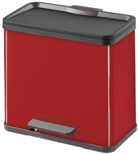 Hailo Trento Öko - Cubo de reciclaje triple, de chapa de acero, 3 x 11 l, color rojo