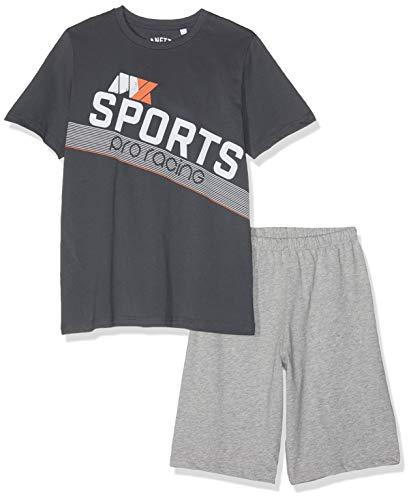 Sanetta Jungen Zweiteiliger Schlafanzug Pyjama Short Grau (Shark 1397) 140 (Schlafanzug Jungen Shark)