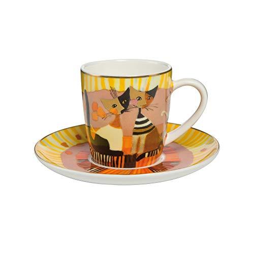 Goebel - Espressotasse Momenti D'oro - Tasse mit Untertasse - Bone China Porzellan - Katzenmotiv - Rosina Wachtmeister 0,1 l Bone China Cup 8