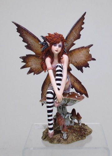 6.25 Inch Naughty Brown Fairy Sitting on Mushroom Statue Figurine by PTC -