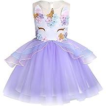 iEFiEL Vestido Disfraz de Nina Princesa Flores Fiesta Cumpleaños para Niña Bebé Traje de Ceremonia Actuación