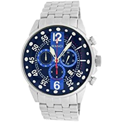 Roberto Bianci Gents 'Pro Racing' Stainless Steel Chrono Watch with Blue Dial
