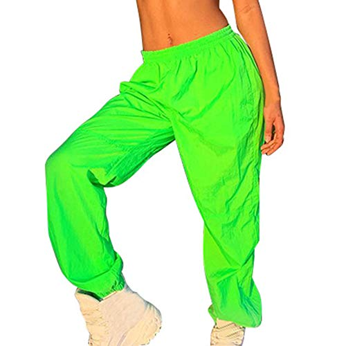 Sfit Damen Hosen Neon Green Streetwear Lange Frühling Freizeithose Mode Sommer Neon Green Streetwear Lange Hosen Damen Midi Taille Freizeithose Gerade Hose Joggers Jogginghose