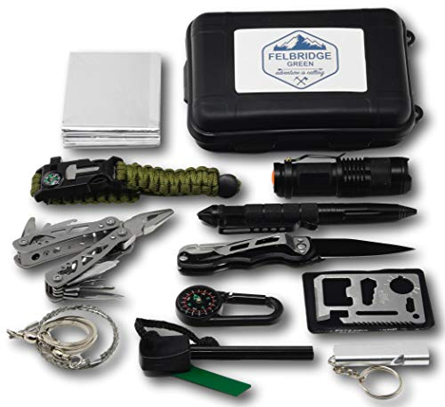 Imagen de felbridge green kits de supervivencia en emergencia con alicates plegables multitool y pulsera paracord | para acampar bushcraft militar y en sus aventuras al aire libre | 12 in 1 survival kit