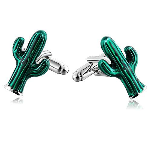 Aienid gemelli acciaio cactus a forma di verde gemelli per uomo