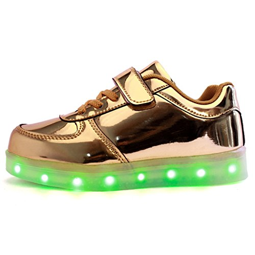 DoGeek LED Schuhe Kinder 7 Farbe USB Auflade Leuchtend Sportschuhe Led Sneaker Turnschuhe (Wählen Sie 1 größere Größe) Gold