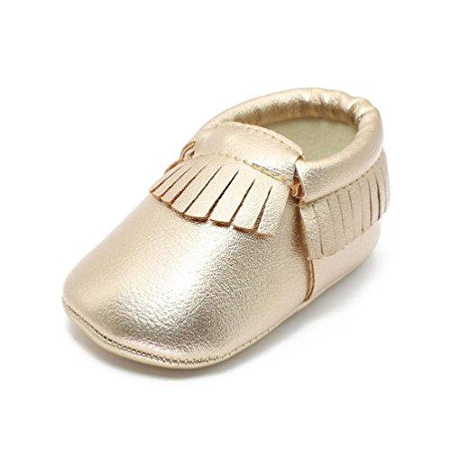 BZLine® Weich Baby Schuhe rutschfeste Baumwolle Infant Neugeborenen Babyschuhe Gold