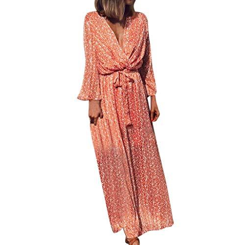 Damen Kleid Partykleid Cocktailkleid,Böhmisch bedrucktes Kleid mit Blumenrock Ausgestellte Ärmel mit gekreuztem V-Ausschnitt und langem Rock mit Schleife Bandage Langes Maxikleid Spandex-v-neck Rock