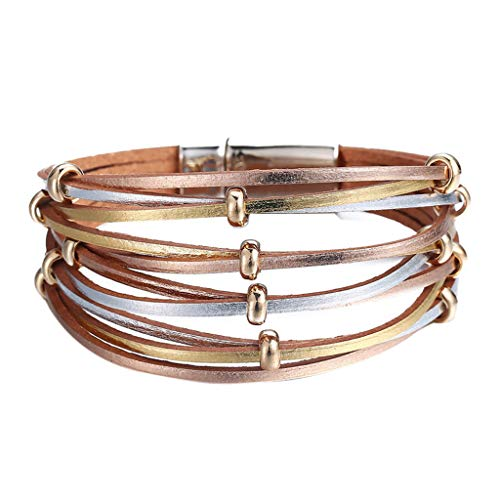 UINGKID Damen-Armband Charm Kreative Stilvolle Mehrschichtiges Leder geflochtenes Stulpe Legierung Magnetverschluss Schmuck -