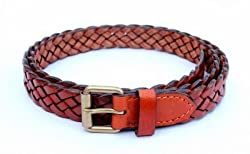 Tops 25mm Tan Hand Braided Leather Belt For women