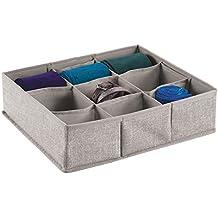 mDesign Caja para armario o cajón - Ideal como caja almacenaje para juguetes o como caja para guardar ropa – Son muy versátiles - Con 9 compartimentos