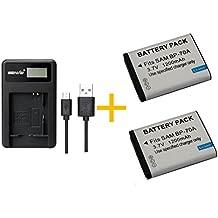2 Piezas 1200 mAh BP-70A BP70A Batería con Cargador de Batería para PL120 PL121