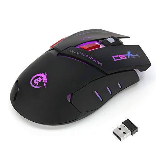 Yowablo Kabellose Gaming Maus 2.4G justierbare 2400 DPI drahtlose optische Mäusemäuse für Computer PC Laptop (Schwarz)