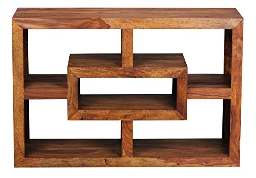 FineBuy Bücherregal Massiv-Holz Sheesham 105 x 70 cm Wohnzimmer-Regal Ablagefächer Design Landhaus-Stil Standregal...