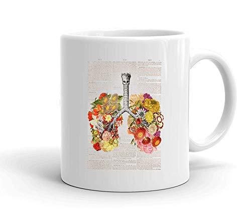 IDcommerce Floral Human Lungs On Book Page Design Weißer Keramik-Becher für Tee und Kaffee - Drink, Bio Hot