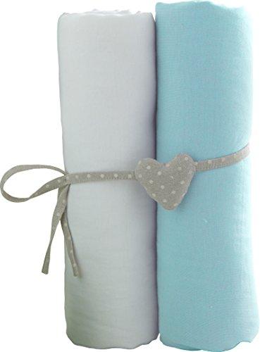 Babycalin - Lot de 2 draps housse Blanc/Turquoise - 70x140 cm