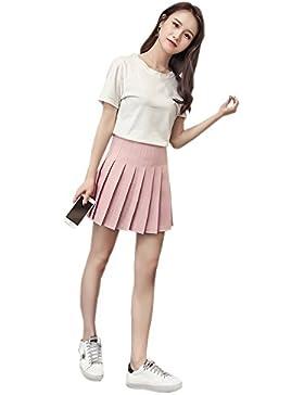 KINDOYO Nueva falda plisada corta de cintura alta para mujer