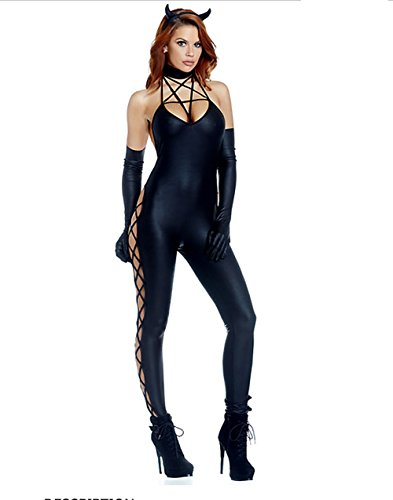 CHEN Halloween sexy weibliche Batman Kostüm Cosplay Fun Spiel Uniform Catsuit nassen Look schwarz Latex Nachtclub Kleidung, Black (Kostüm Batman-halloween Weiblich)