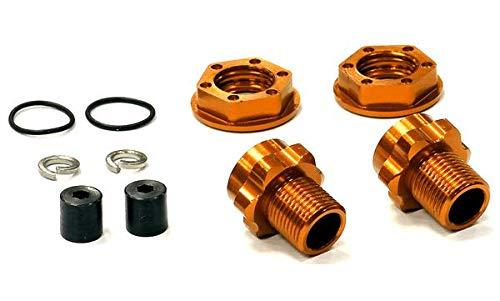 Integy RC Model Hop-ups T8182ORANGE Billet Machined Wheel 17mm Hex Rear Adapter (2) +3mm Offset for Traxxas Jato