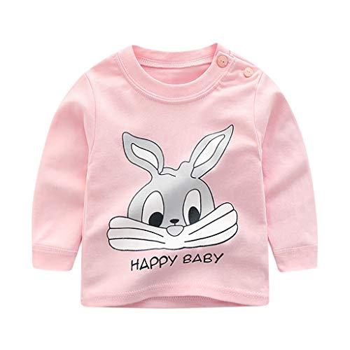 MRULIC Baby Kinder Tops Baumwolle Schöne Cartoon Tier Gedruckt Langarm Unisex T-Shirt Tops Pullover Button Shirt Bluse Jumper 0-3 Jahre(Rosa,6-12 Monate)