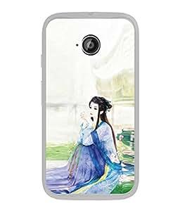 PrintVisa Designer Back Case Cover for Motorola Moto E2 :: Motorola Moto E Dual SIM (2nd Gen) :: Motorola Moto E 2nd Gen 3G XT1506 :: Motorola Moto E 2nd Gen 4G XT1521 (Traditional Painting Light Blue Colours)